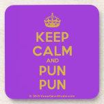 [Crown] keep calm and pun pun  Cork Coasters