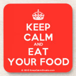 [Crown] keep calm and eat your food  Cork Coasters