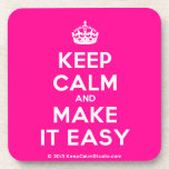 [Crown] keep calm and make it easy  Cork Coasters
