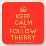 [Crown] keep calm and follow thierry  Cork Coasters
