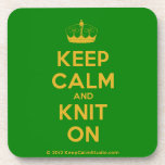[Knitting crown] keep calm and knit on  Cork Coasters