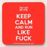 [UK Flag] keep calm and run like fuck  Cork Coasters