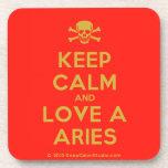 [Skull crossed bones] keep calm and love a aries  Cork Coasters