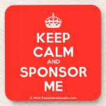 [Crown] keep calm and sponsor me  Cork Coasters