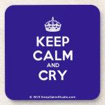 [Crown] keep calm and cry  Cork Coasters