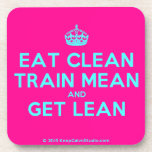 [Crown] eat clean train mean and get lean  Cork Coasters