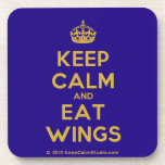 [Crown] keep calm and eat wings  Cork Coasters