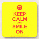 [Smile] keep calm and smile on  Cork Coasters