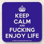 [Crown] keep calm and fucking enjoy life  Cork Coasters