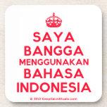 [Crown] saya bangga menggunakan bahasa indonesia  Cork Coasters