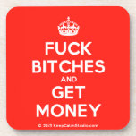 [Crown] fuck bitches and get money  Cork Coasters