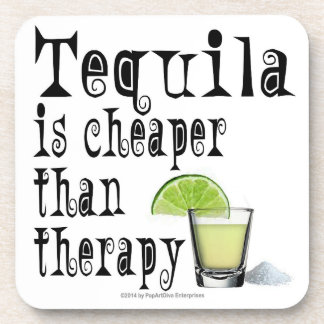 CORK COASTERS SET, TEQUILA IS CHEAPER THAN THERAPY