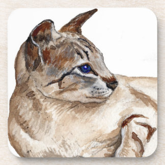 cork coasters sets - tabby point siamese cat