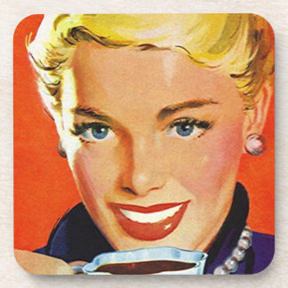 Cork Coasters Vintage Fashionable Lady Sips Coffee