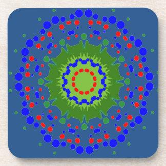 Cork Coasters with Mandala and Blue Background