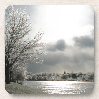 cork coasters with photo of icy winter landscapes