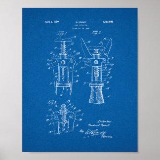 Cork Extractor Patent - Blueprint Poster
