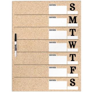 Cork Look Weekly Meal Planner Dry-Erase Whiteboard
