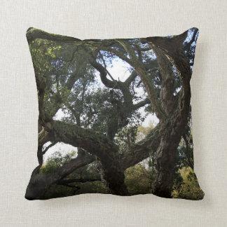 Cork oak or tree of the cork, elegant tree throw pillow