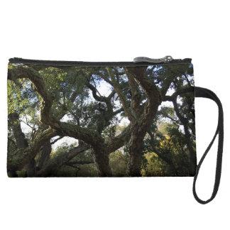 Cork oak or tree of the cork, elegant tree suede wristlet wallet