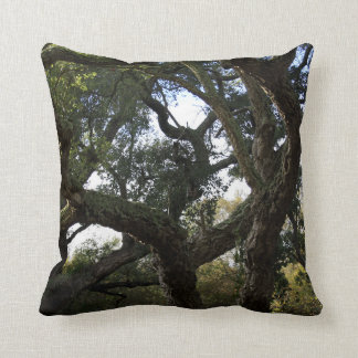 Cork oak or tree of the cork, elegant tree throw pillow