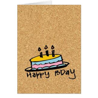 cork paper happy birthday card
