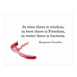 Cork screw wine and beer quote postcard