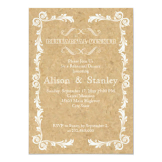 Cork, vintage frame wedding rehearsal dinner personalized announcements