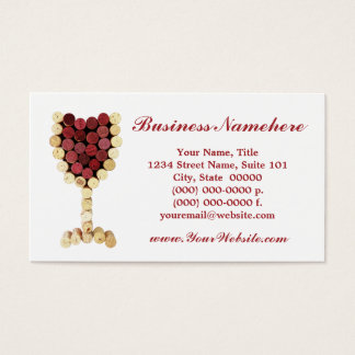 Cork Wine Glass Business Cards