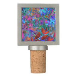 Cork Wine Stopper Floral Abstract Stained Glass