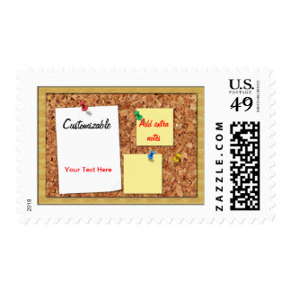 Corkboard Greeting with Note Papers Customizable Postage