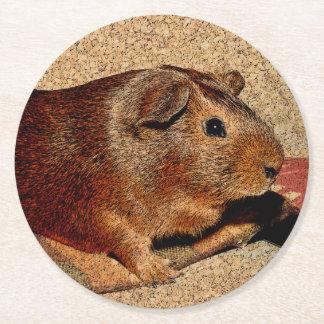 Corkboard Look Guinea Pig Round Paper Coaster