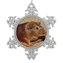 Corkboard Look Guinea Pig Snowflake Pewter Christmas Ornament
