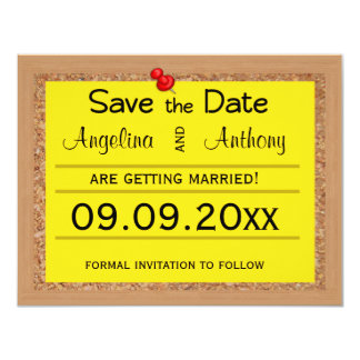 Corkboard Save The Date Wedding Reminders Card
