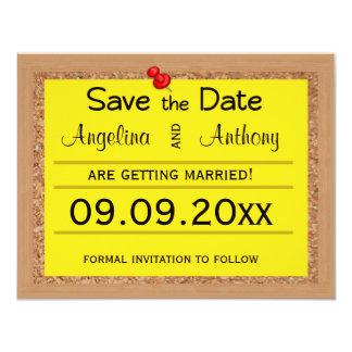 "Corkboard Save The Date Wedding Reminders 4.25"" X 5.5"" Invitation Card"