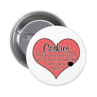 Corkie Paw Prints Dog Humor Pinback Button