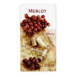corks, corkscrew and grapes wine bottle label