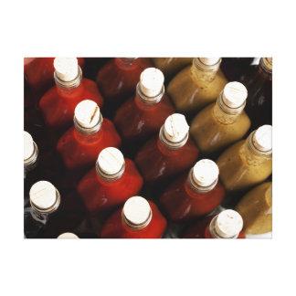 Corks on hot sauces canvas print