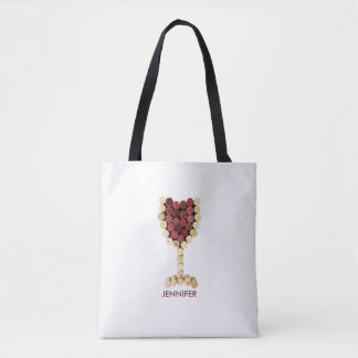 Corks Wine Glass Personalized Tote Bag