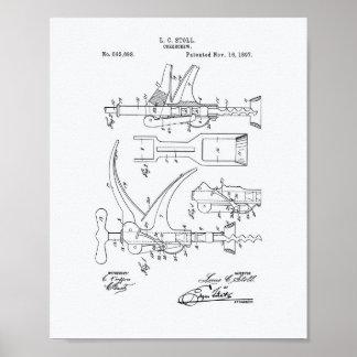 Corkscrew 1897 Patent Art - White Paper Poster