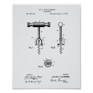 Corkscrew 1897 Patent Art White Paper Poster