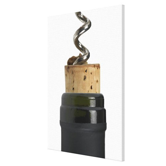 Corkscrew and cork, photographed on white canvas print