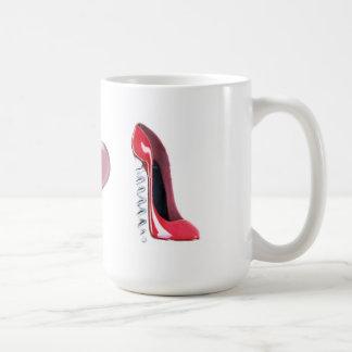 Corkscrew Heel Red Stiletto Shoe Art Basic White Mug