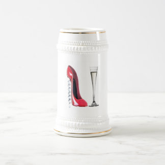 Corkscrew Heel Red Stiletto Shoe Champagne Flute Beer Stein