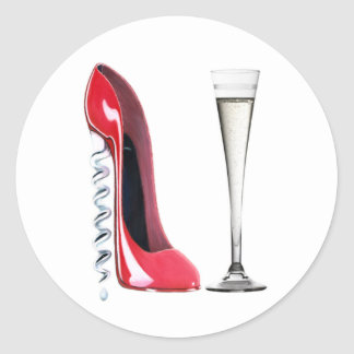 Corkscrew Heel Red Stiletto Shoe Champagne Flute Classic Round Sticker
