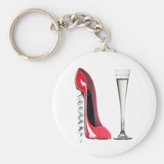 Corkscrew Heel Red Stiletto Shoe Champagne Flute Keychain