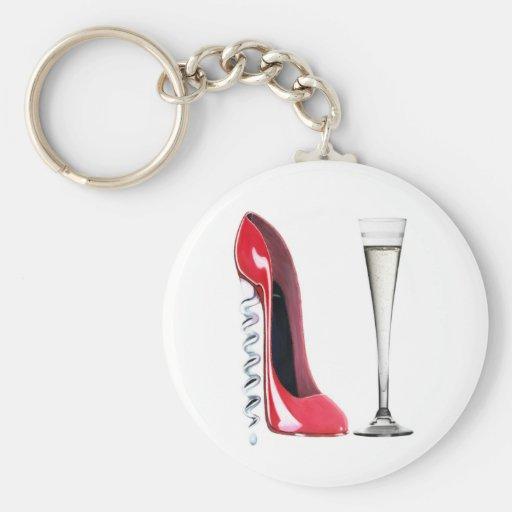 Corkscrew Heel Red Stiletto Shoe Champagne Flute Key Chains