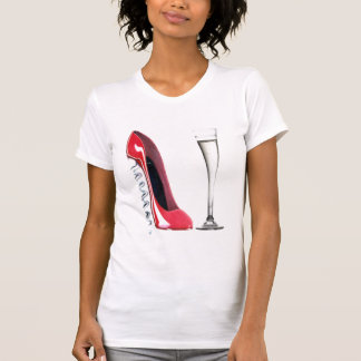 Corkscrew Heel Red Stiletto Shoe Champagne Flute T-Shirt