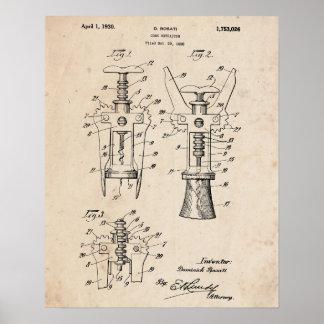 Corkscrew Patent Print 1928 Poster