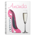 Corkscrew Pink Stiletto and Champagne Notebook